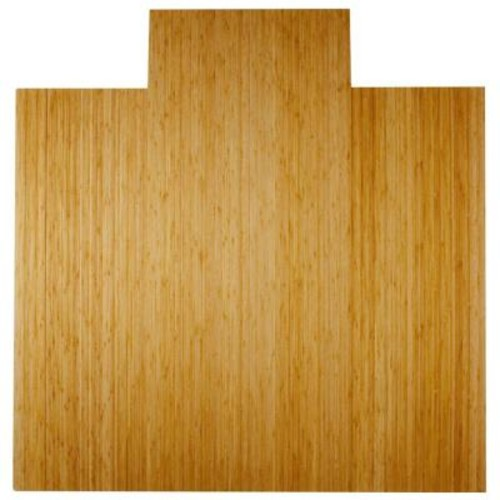 Anji Mountain Deluxe Natural Light Brown 55 in. x 57 in. Bamboo Roll-Up Office Chair Mat with Lip