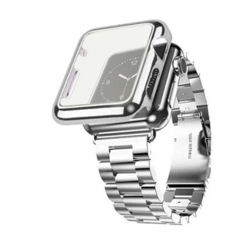 iPM Stainless Steel Watch Band with Plated Slim Case for Apple Watch-38mm-Silver (APWPLTD38SI)