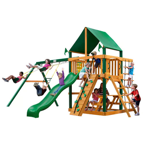 Gorilla Playsets Chateau Cedar Swing Set with Green Vinyl Canopy and Timber Shield Posts