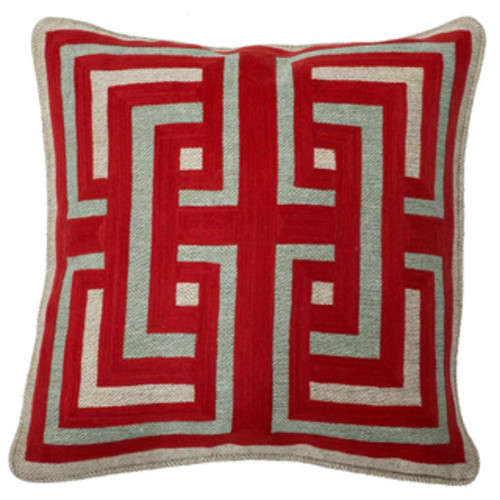 Hafoca Ikat Down Fill Hot Pepper Throw Pillow