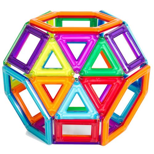 Guidecraft PowerClix Frames Magnetic Building Blocks Set, 74 Piece Magnetic Tiles, Stem Educational Construction Toy
