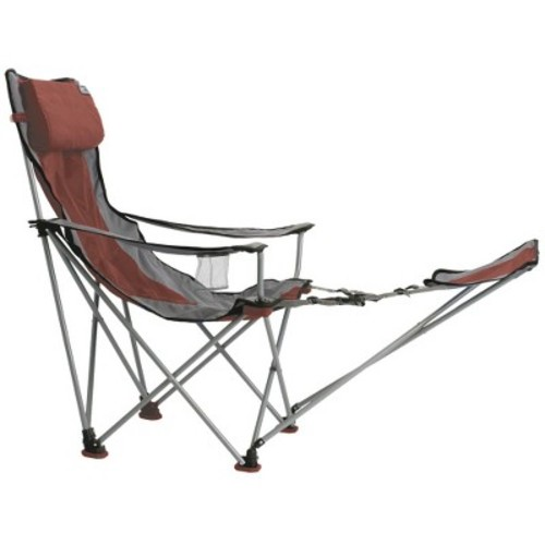Travel Chair with Footrest - Red/ Gray