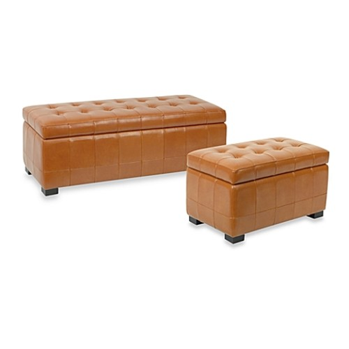 Safavieh Hudson Leather Large Manhattan Storage Bench - Saddle