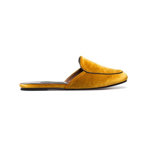 Yellow Velvet Liza Mules