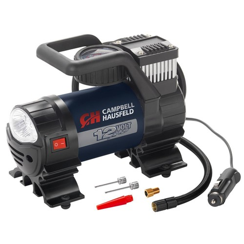 Campbell Hausfeld Mighty 150 PSI Lightweight 12-Volt Portable Inflator with Safety Light and Inflation Accessories