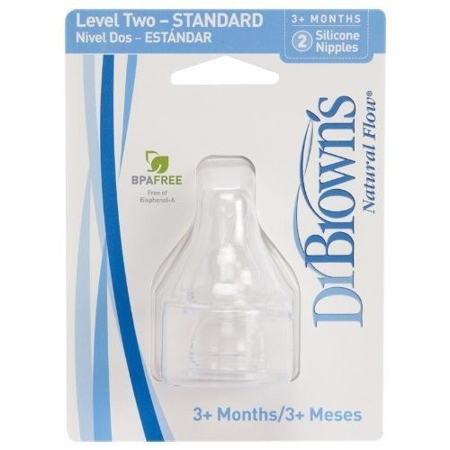 Dr Brown 2pk Level 2 Nipp Size 2ct Dr. Brown'S 2pk Level 2 Standard Nipple, 3-6 Months : Dr Browns : Baby [2 Count]