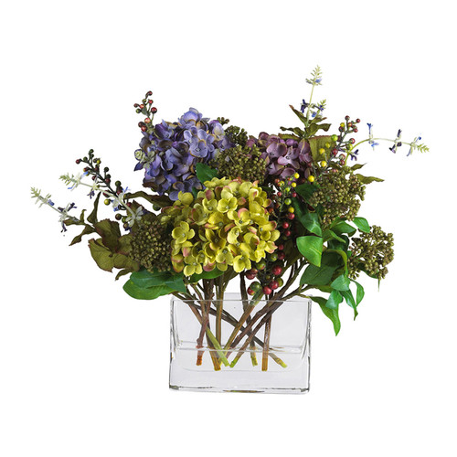 Nearly Natural Home Accent Mixed Hydrangea With Rectangle Vase Silk Flower Arrangement Mixed
