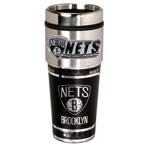 Brooklyn Nets Stainless Steel Metallic Travel Tumbler