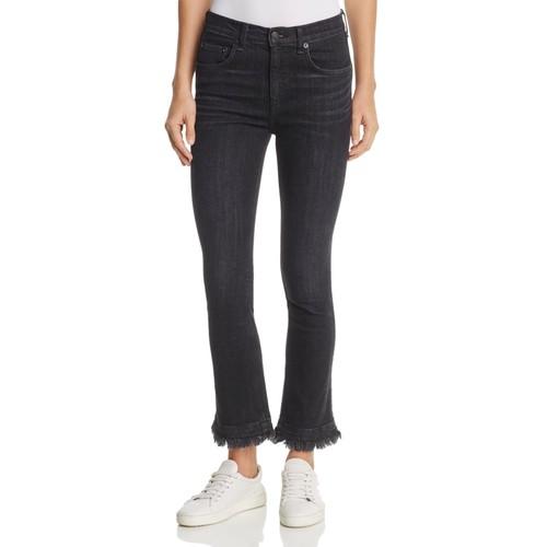 RAG & BONE/JEAN Hana Crop Flare Jeans In Black Croyden