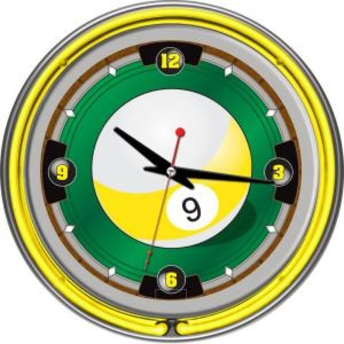Trademark Global 14 in. 9-Ball Neon Wall Clock