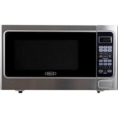 Bella - 1.1 Cu. Ft. Mid-Size Microwave - Stainless Steel and Black