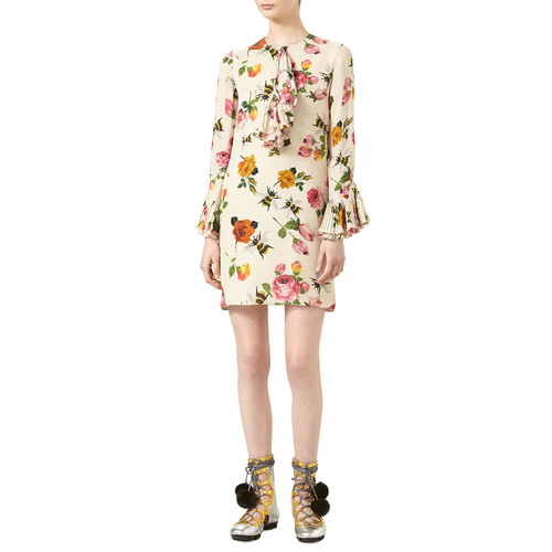 GUCCI Rose-Print Silk Dress, Ivory