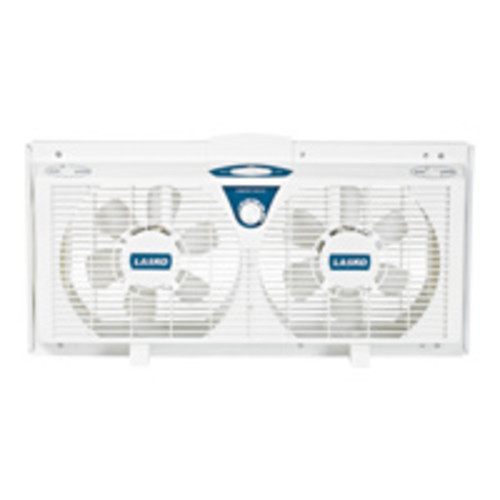 Lasko Products Lasko 2138 8-inch Electrically Reversible Twin Window Fan with Thermostat, 2-Speed
