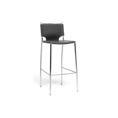 Baxton Studio Montclare Black Leather Modern Bar Stool (Set of 2)