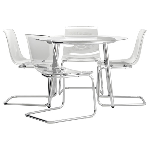 SALMI / TOBIAS Table and 4 chairs, glass, clear