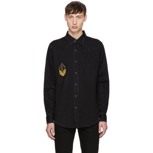 SAINT LAURENT Black Denim Army Patch Shirt