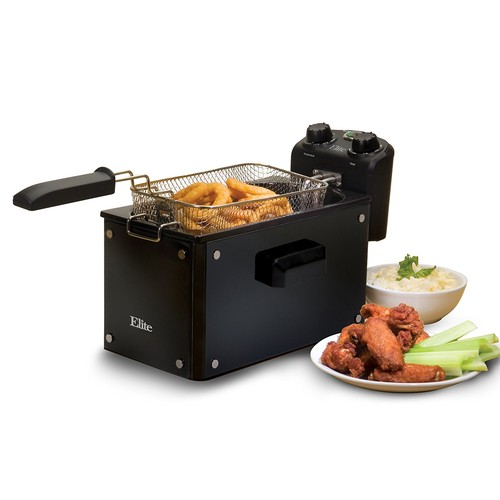 Elite Platinum EDF-3500GB Maxi-Matic 3.5 Quart Deep Fryer, Black [Black, Fryer w/Timer & Temp Knobs]