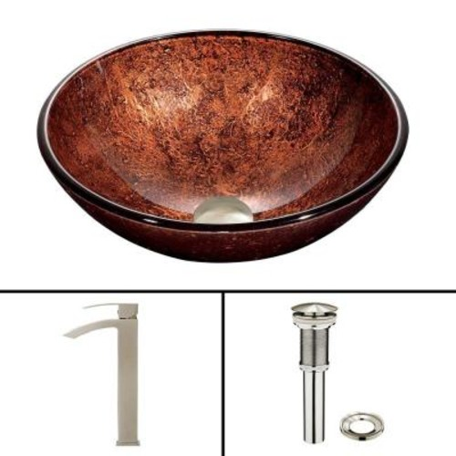 VIGO Glass Vessel Sink in Mahogany Moon and Duris Faucet Set in Brushed Nickel