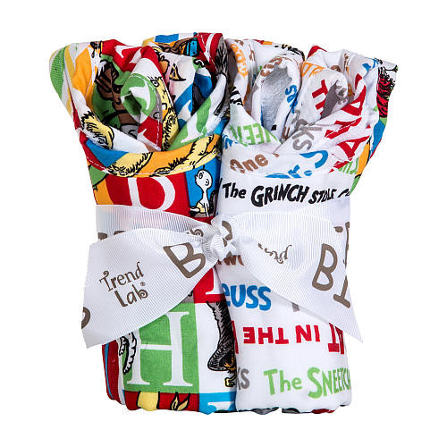 Trend Lab Dr. Seuss Alphabet Seuss Bouquet 4 Pack Bib Set