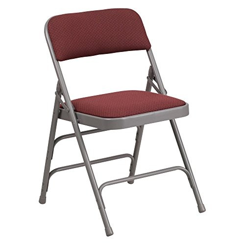 Flash Furniture HERCULES Series Curved Triple Braced & Double Hinged Burgundy Patterned Fabric Metal Folding Chair [Burgundy Patterned, 1 Pack]