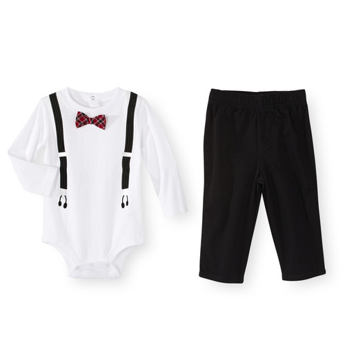 Koala Baby 2 Piece Bow Tie and Faux Suspenders Bodysuit Set