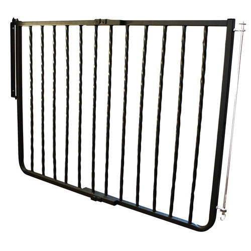 Cardinal Gates 30 in. H x 27 in. to 42.5 in. W x 2 in. D Wrought Iron Decor Gate Black