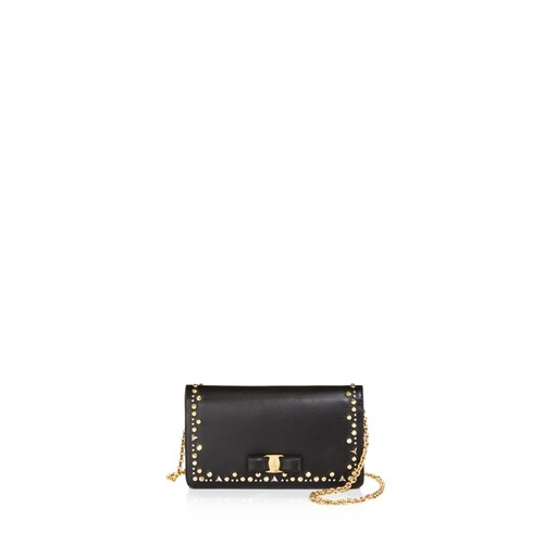 SALVATORE FERRAGAMO Vara Studded Leather Chain Wallet