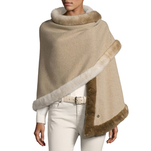 LORO PIANA Semicircle Shawl W/ Fur Trim