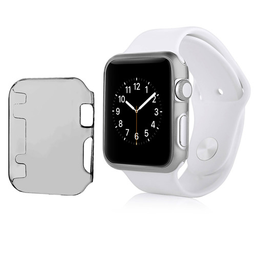 Insten - Crystal Hard Snap-in Case Cover Compatible with Apple Watch iWatch 42mm - Clear black