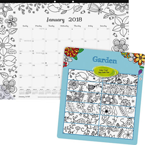Blueline Garden Design Monthly Desk Pad - Julian - Monthly - January 2018 till December 2018 - 1 Month Single Page Layout - Desk Pad - White - Chipboard - Eyelet, Tear-off, Compact, Reinforced