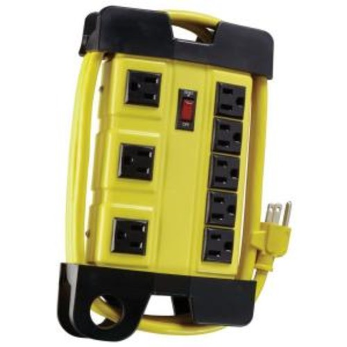Woods Metal 8-Outlet Workshop Power Strip with Cord Wrap and 3-Transformer Outlets 6 ft. Power Cord - Yellow