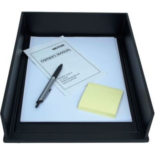 Victor Wood Midnight Black Stacking Front-Loading Letter Tray (1142-5)