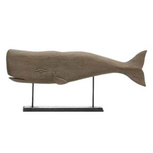 Hand Carved Mango Wood Whale On Stand - 3R Studios