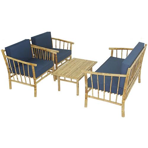 Bamboo 4-Pc Lounge Set, Natural/Navy