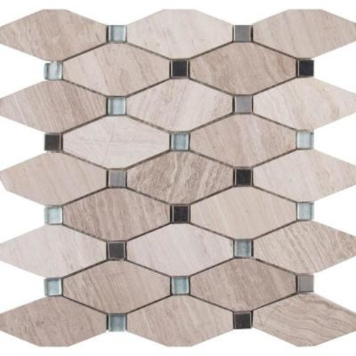 MS International Bayview Elongated Octagon 12 in. x 12 in. x 10 mm Glass Metal Mesh-Mounted Mosaic Tile (10 sq. ft. / case)