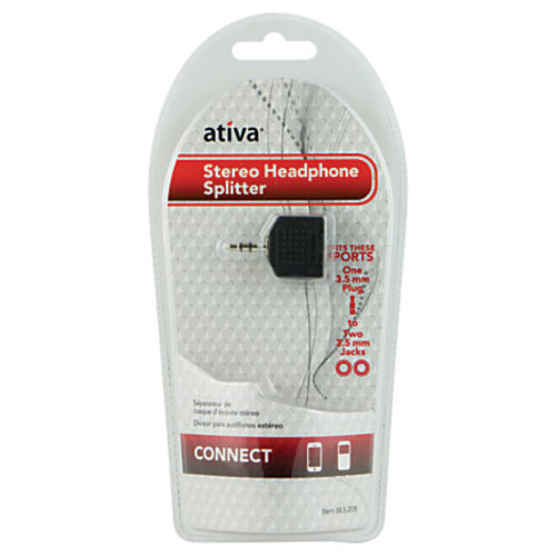 Ativa 3.5mm Stereo Headphone Splitter, Black