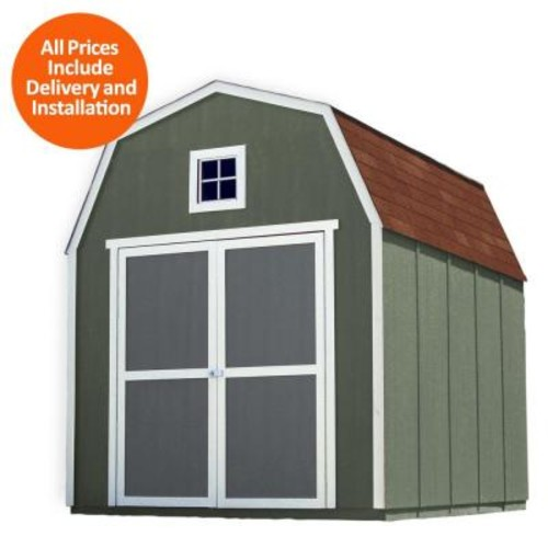 Handy Home Products Installed Montana 8 ft. x 10 ft. Wood Storage Shed with Autumn Brown Shingles