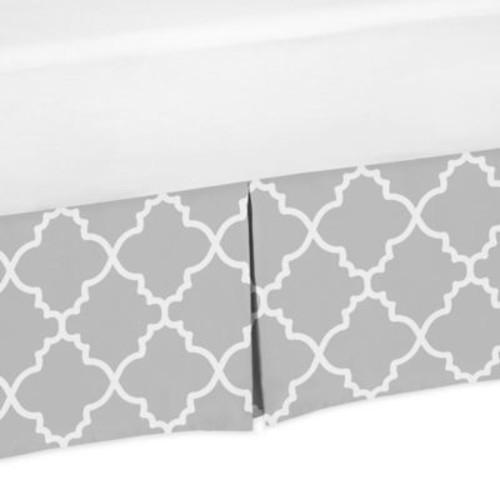 Sweet Jojo Designs Trellis Crib Skirt in Grey/White