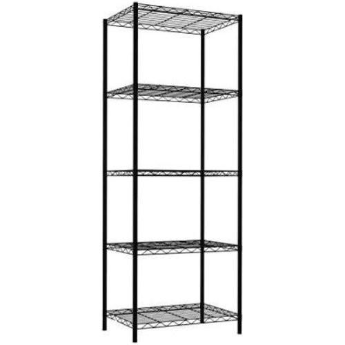 Home Basics Wire Shelving Storage Unit (5 Tier, Black): Kitchen & Dining