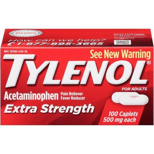 Tylenol pain reliever/fever reducer, extra strength, 500 mg, caplets, 100 caplets