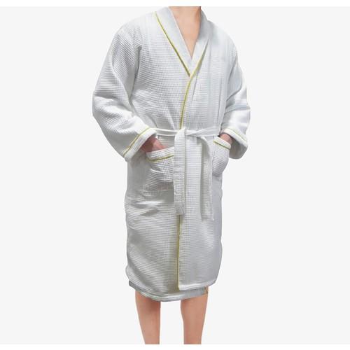 Radiant Sauna European Spa u0026 Bath White Waffle Weave Terry Cloth Robe w/ Gold Embroidered Trim