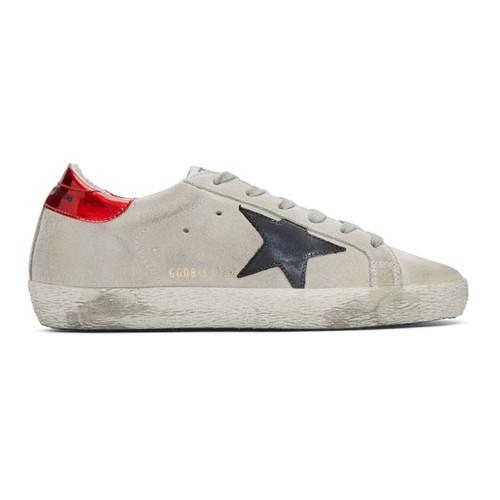 GOLDEN GOOSE Grey & Red Suede Superstar Sneakers
