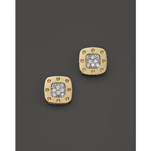 18K Yellow and White Gold Square Pois Moi Earrings with Diamonds, .24 c.t. t.w.