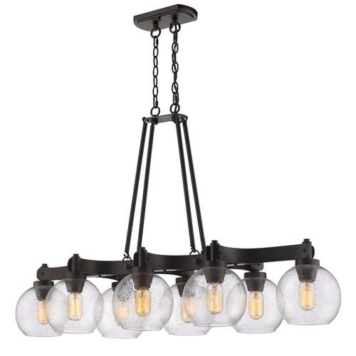 Golden Lighting Galveston Rubbed Bronze Steel/Seeded Glass 8-light Linear Pendant