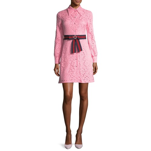 GUCCI Cluny Lace Dress With Web Waistband, Pink