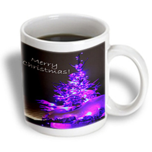 3dRose - Yves Creations Pretty Christmas Tree - Pretty Christmas Tree Merry Christmas in Purple With White Text - 15 oz mug