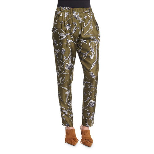 3.1 PHILLIP LIM Floral Silk Tapered Trousers, Dark Olive