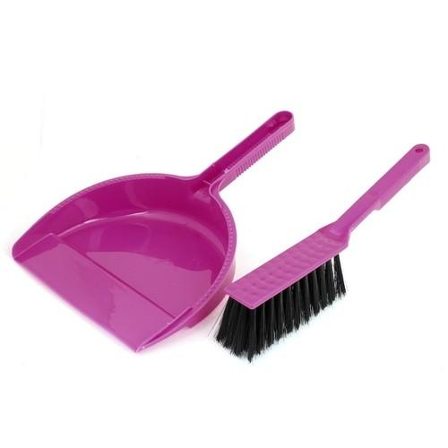 Plastic Brush Sweeping Broom Dustpan Cleaner Set Fuchsia Black for PC