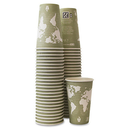 Eco-Products Renewable Resource Hot Drink Cups - 50 / Pack - 16 fl oz - 10 / Carton - Sea Green - Polylactic Acid (PLA), Resin, Paper, Biopolymer, Plastic - Hot Drink, Coffee