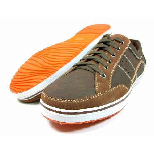 Polar Fox By Delli Aldo Mens Brown Casual Fashion Low Cut Lace Up Sneaker Shoes Size 10